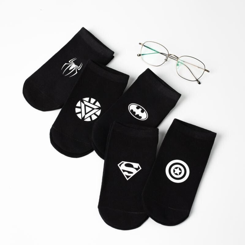 Bonypony Funky Avengers Short Novelty Sokken Custom Mens Ankle Summer Thin Boat Socken Solid White Black Casual Funky Socks