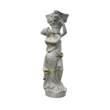 Stone Carved Products Marble Naked Woman Statue Column