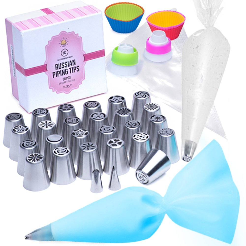 Russian Piping Tips | Cake Decoration Kit–56 pcs | Top-Grade Stainless Steel Bakery and Pastry Supplies | Icing Nozzles, Silicone Cupcake Mold, Leaf Nozzles, Tri-Color Coupler and More | Kitchen King