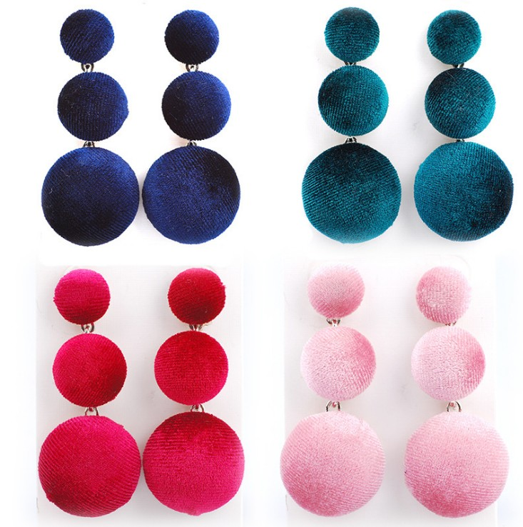 Lady Women Fashion Fabric art Ball Stud Earrings Big Brand Design Buttons Statement Elegant Stud Earrings Jewelry Factory Price