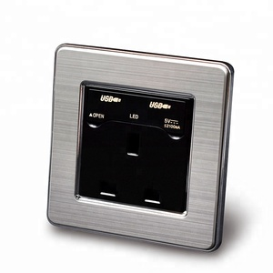 Stainless steel frame 13A BS standard 2 USB socket