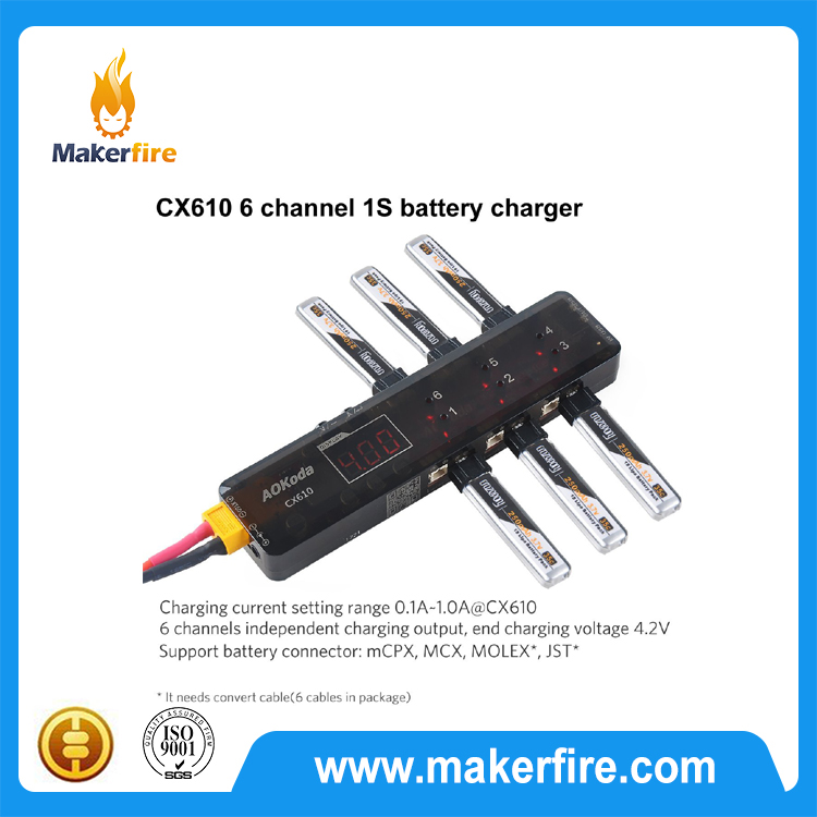 CX610 6 Channel lipo charger 3.7V 1S 1A with XT60 Plug