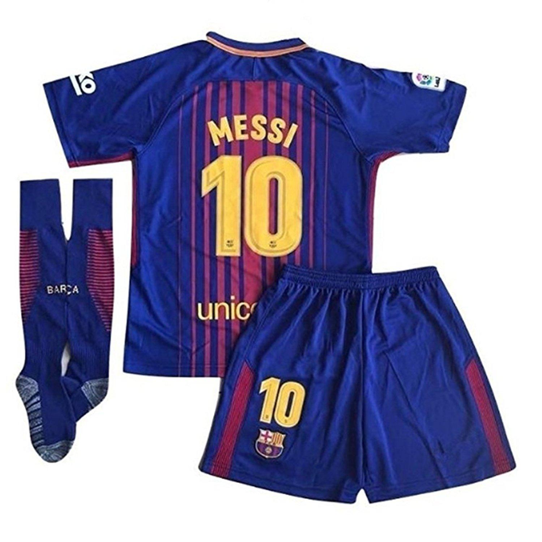 Da Games Youth Sportswear Barcelona Messi 10 Kids Home Soccer Jersey//Shorts Football Socks Set