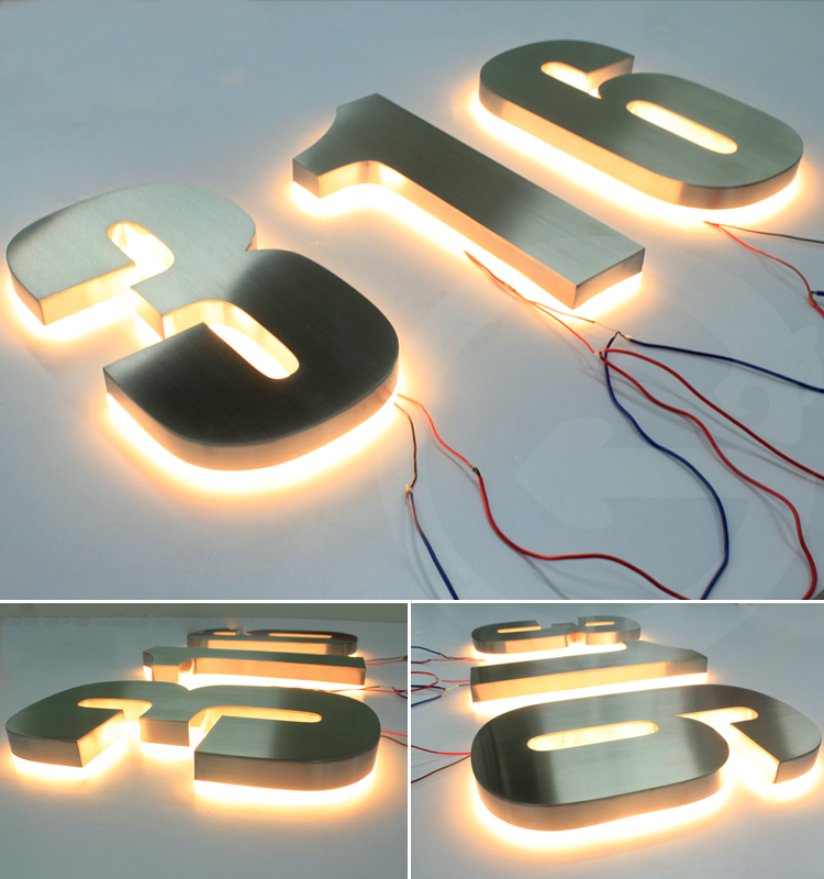 Waterdichte custom rvs backlit metalen logo led building adres brief teken