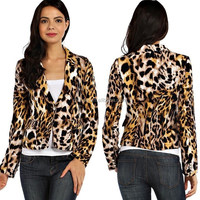 women ANIMAL PRINT KNIT BLAZER wholesale lepoard blazer