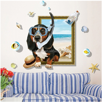 New Style Cartoon Dog Design Removable Decoration 3D Window Wall Sticker
