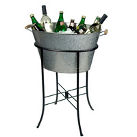 Simple design ice bucket with stand' Party Tub with Stand, Galvanized, Metal