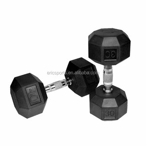 Supply Deluxe Fixed Rubber Coated Hex Dumbbell