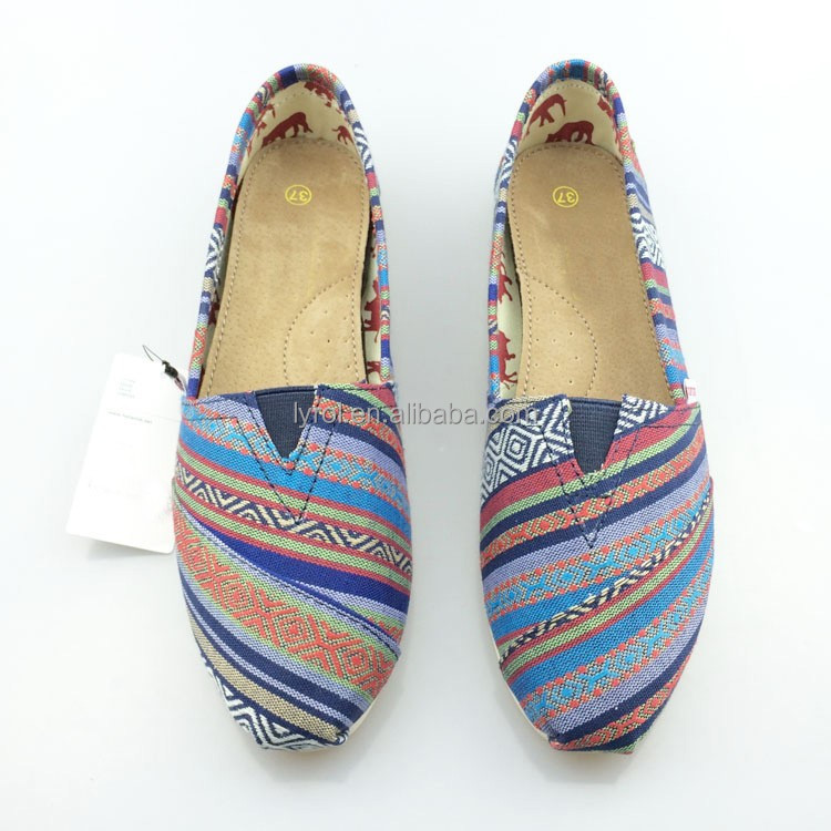 hot selling colorful yarn dyed fabric ethnic slip on women ladies flat shoes casual canvas fashion shoe lady loafers