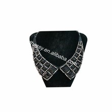 Fashion Black Big Acrylic Stone Beaded Decorative Collar For Ladies Dress/Garment Accessories DHDC1463