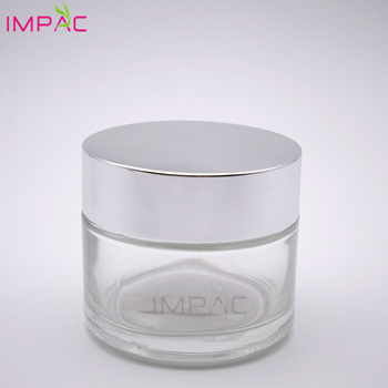 Clear round silver matel cap cosmetic skin care cream 100ml glass storage jar