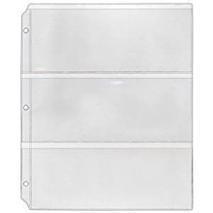 """StoreSMART - Collector's Envelope Page for 3-Ring Binders - Three 3 1/2"""" x 8 1/2"""" pockets - Holds 3 Envelopes - Clear Vinyl - 100 Pack - MC29-100"""