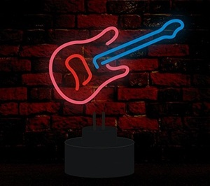 Small Novelty Guitar Tube Stand Floor Neon Light For Rooms And Santa Claus Neon