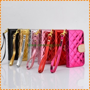 Wholesale Leather Wallet Flip Diamond Phone Case for iPhone 5s SE Leather Case