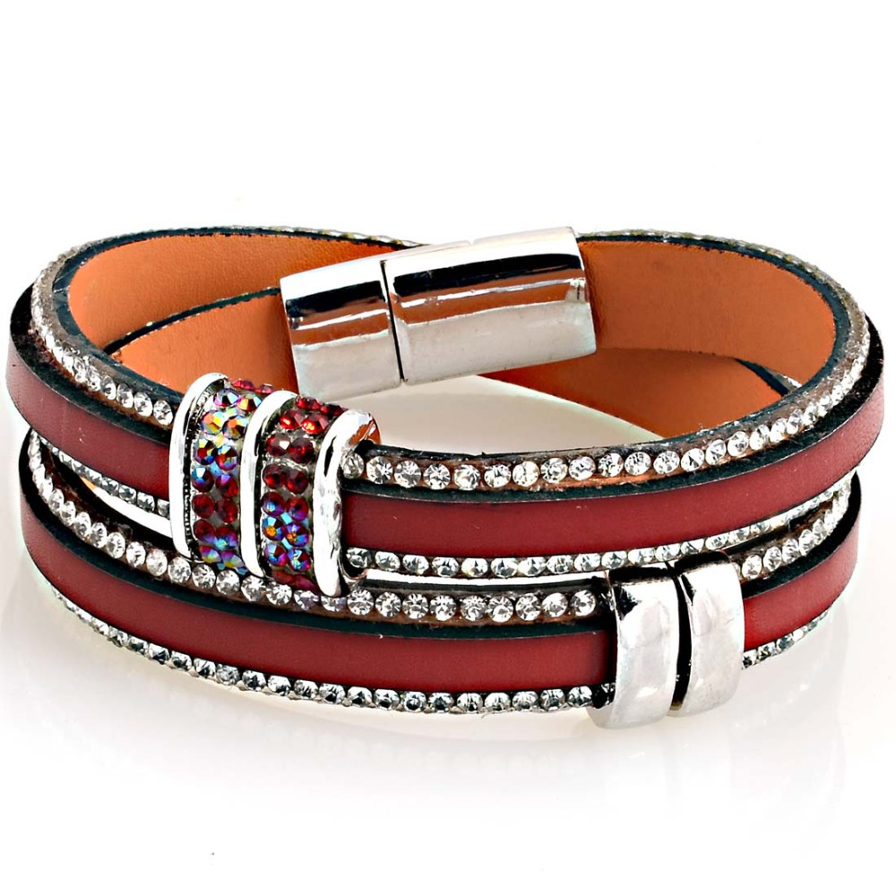 Leather Wrap Bracelet With Charms: Hot Sale Newest Rhinestone Bling Slide Charm Double