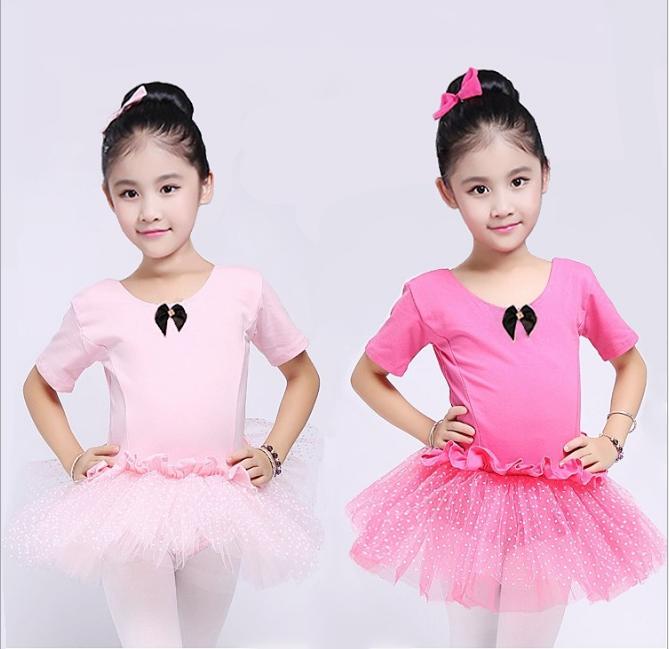 dbfec4be33df Children Short Sleeve Dance Leotards Stage Performance Tutu Skirt ...