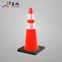 Wholesale Good Quality 70cm High Black Base Orange PVC Traffic Signal Cone