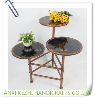 Kz160238 Luxury 3 Tier Metal Indoor Marble Top Flower Pot Plant