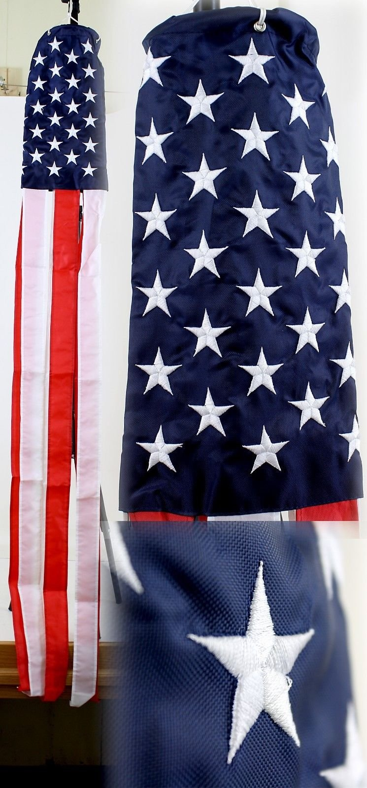 """Ramson Imports of America 60"""" Embroidered U.S. USA American Flag 100% Polyester Wind Sock W/Grommets"""