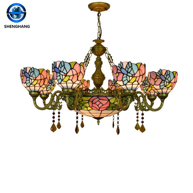 Tiffany Style Hanging Lamp High Quality Stained Glass Pendant Lights Glass Chandeliers Wholesale Buy Tiffany Pendant Lights Decorative Tiffany