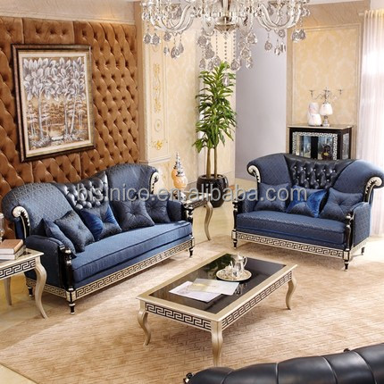 Italy New Classic Blue Fabric & Leather Living Room Sectional Sofa Set/  Luxury Home Continuous Greek-key Solid Wood Carving Sofa - Buy Living Room  ...