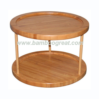 2 Tier Turntable Bamboo Spice Rack Tray Lazy
