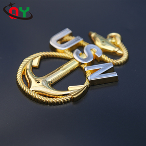 Factory direct price rudder string shape id badge USN 101.6mm size metal anchor personalised custom online badges