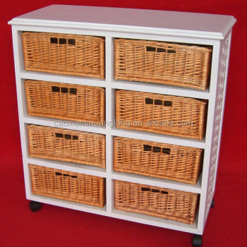 Ordinaire Wooden Kitchen Furniture Wicker Basket Drawers Wooden Cabinet With Wheels