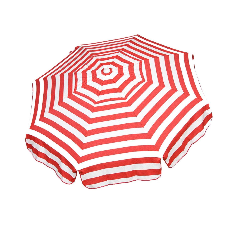 Italian 6 Foot Umbrella Acrylic Stripes Red And White   Patio Pole