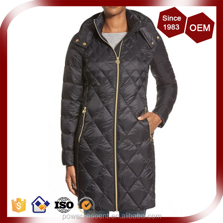 Black Packable Diamond Quilted Padding Long Coat Jacket For Women