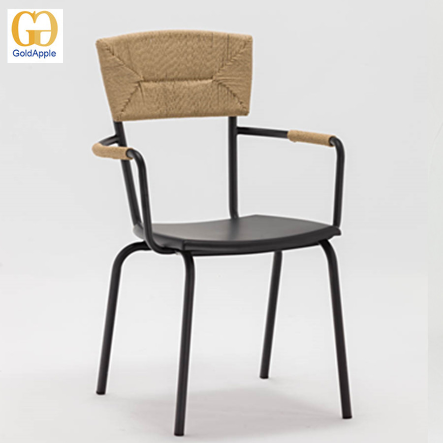Stacking outdoor metal dining chair, bistro rattan chair