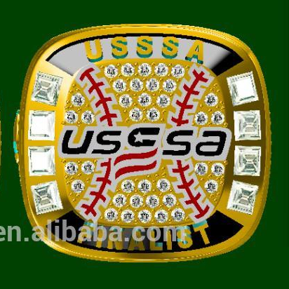 Alibaba.com / Custom Fancy Gold and Silver Kids Baseball Softball USSSA Championship Rings Jewelry