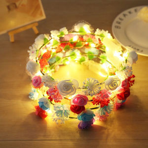 Handmade Floral Crown Headband Led Light Garland Wedding Headpiece Hair Ornament KS909
