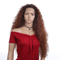 Cheap Wigs for Black Women Long Wavy Kinky Curly Full Machine Made Lace Front Synthetic Hair Wigs Heat Resistant Fiber