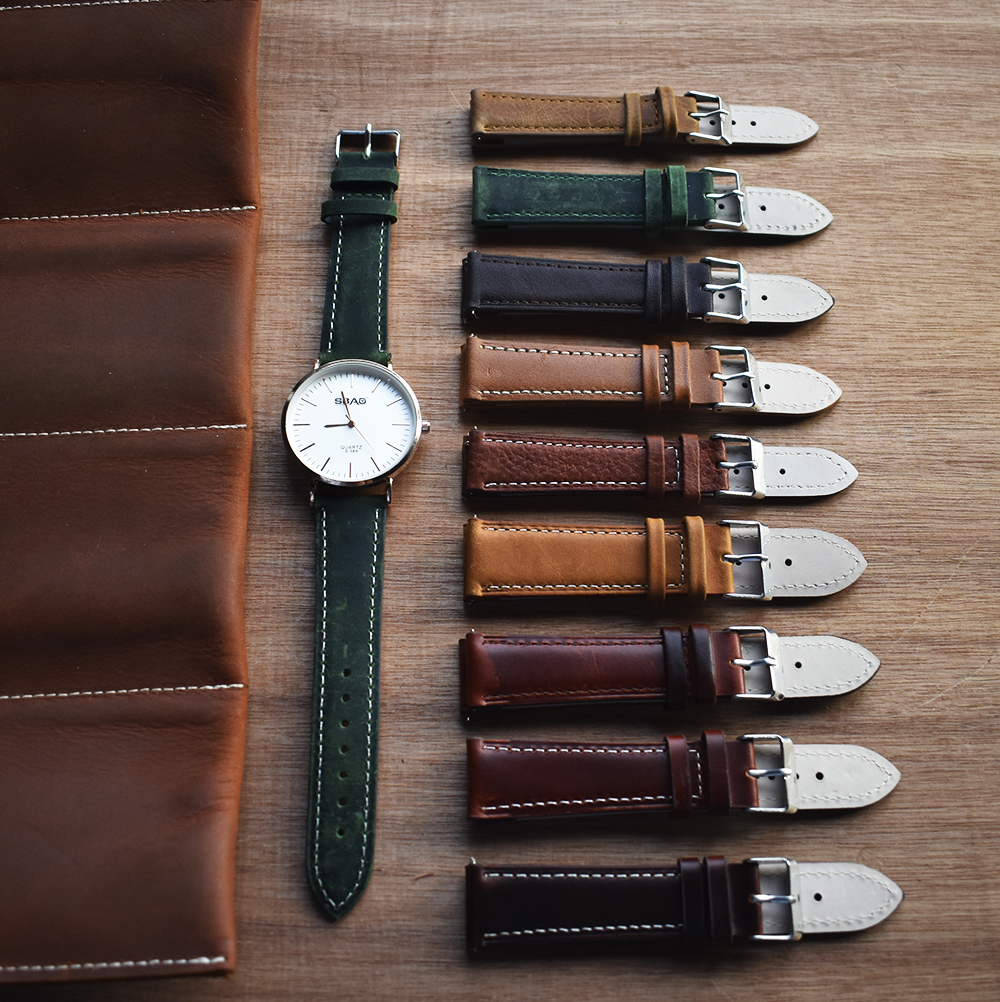 Free Quick Release Top Grain Leather Watch Band Strap - Choice of Color & Width (18mm, 20mm or 22mm) italian leather watch strap фото