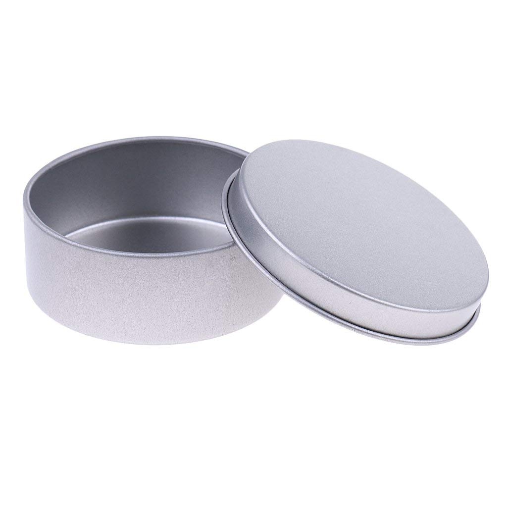 Camping and Gifts Party Favors Dry Storage Baoblaze DIY Candle Tin Jars Silver Colour Candle Container Tins 65mm x 25mm Round step lid for Candle Making Spices
