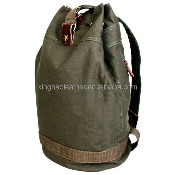 High Quality Useful Men Canvas Drawstring Hiking Backpack ...