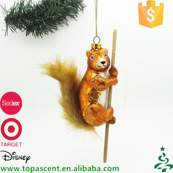 glass animal christmas tree decorations squirrel climbing pole decoration for sale - Animal Christmas Decorations