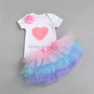 rainbow princess children girl ballet frozen tutu dress