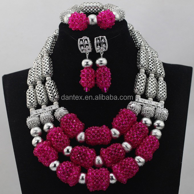2017 Fashion jewelry sets African women beads bridal wedding dubai jewelry sets