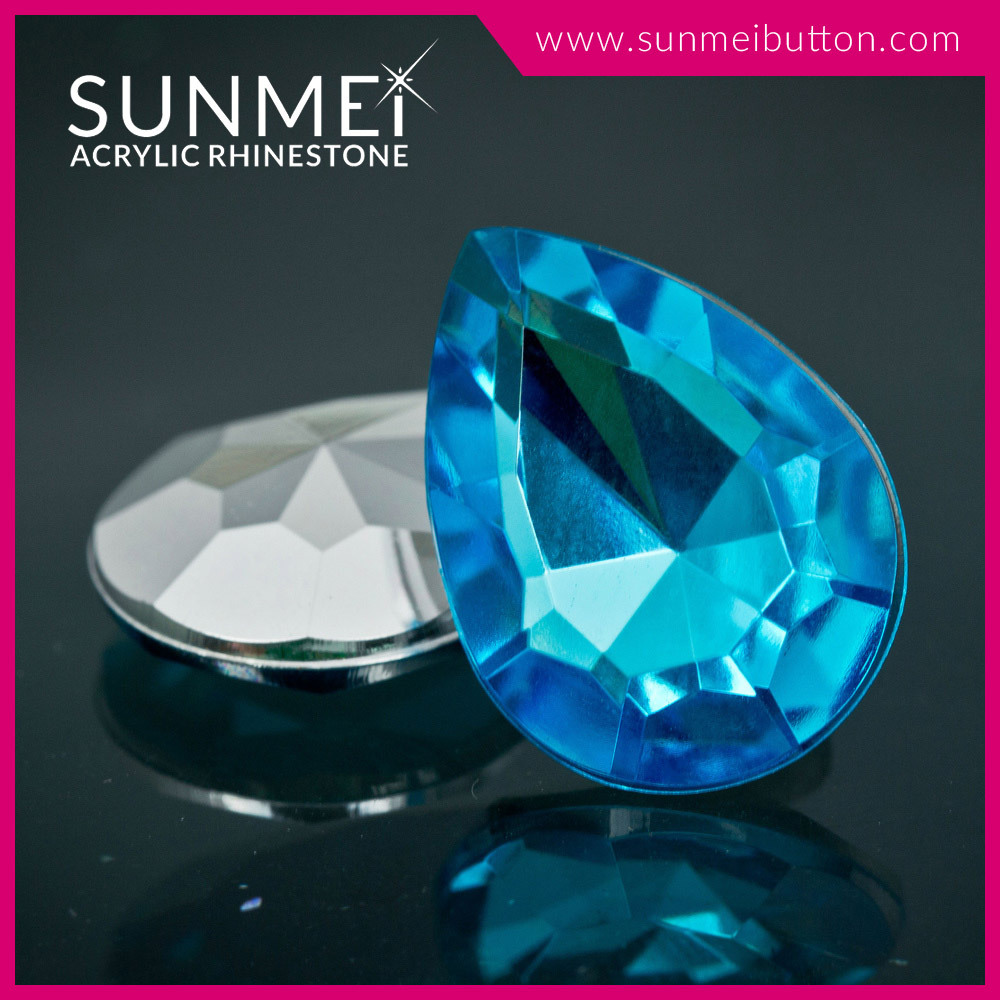 Bulk Wholesale Drop Shape Point Back Water Blue Acrylic Rhinestone for Earring