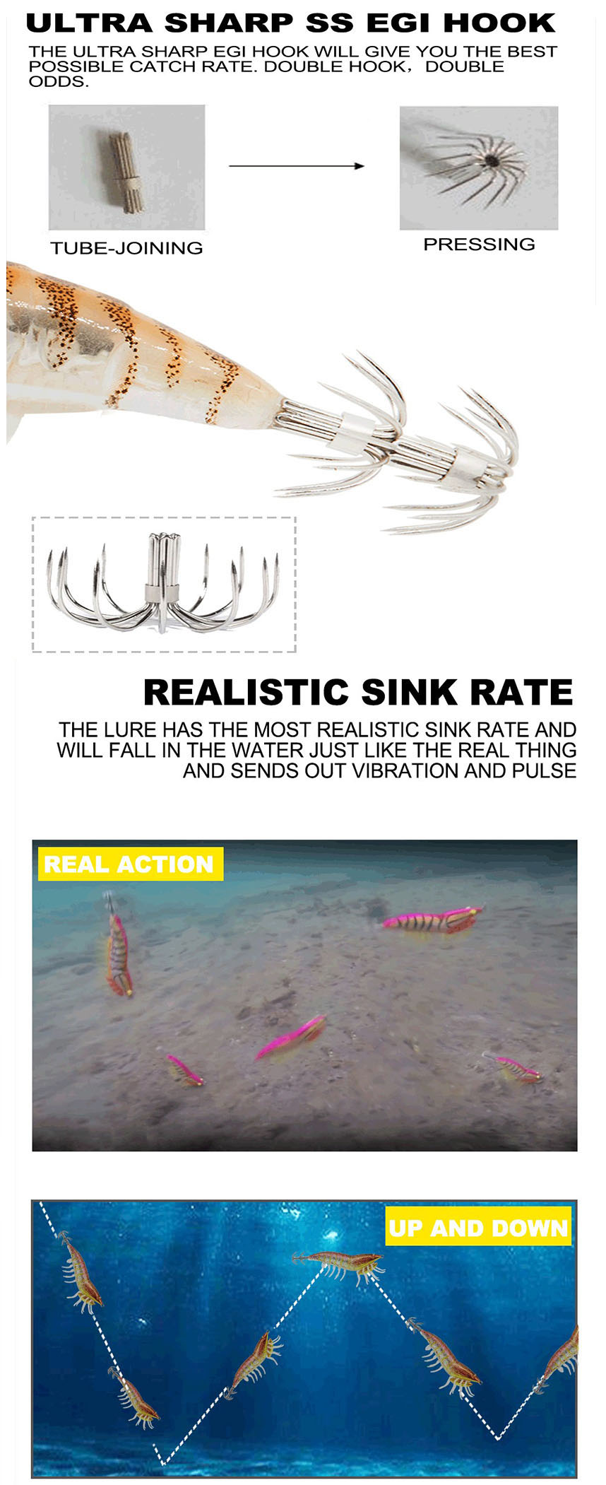 Cheap price flasher 3d lure eyes artificial shrimp fishing bait
