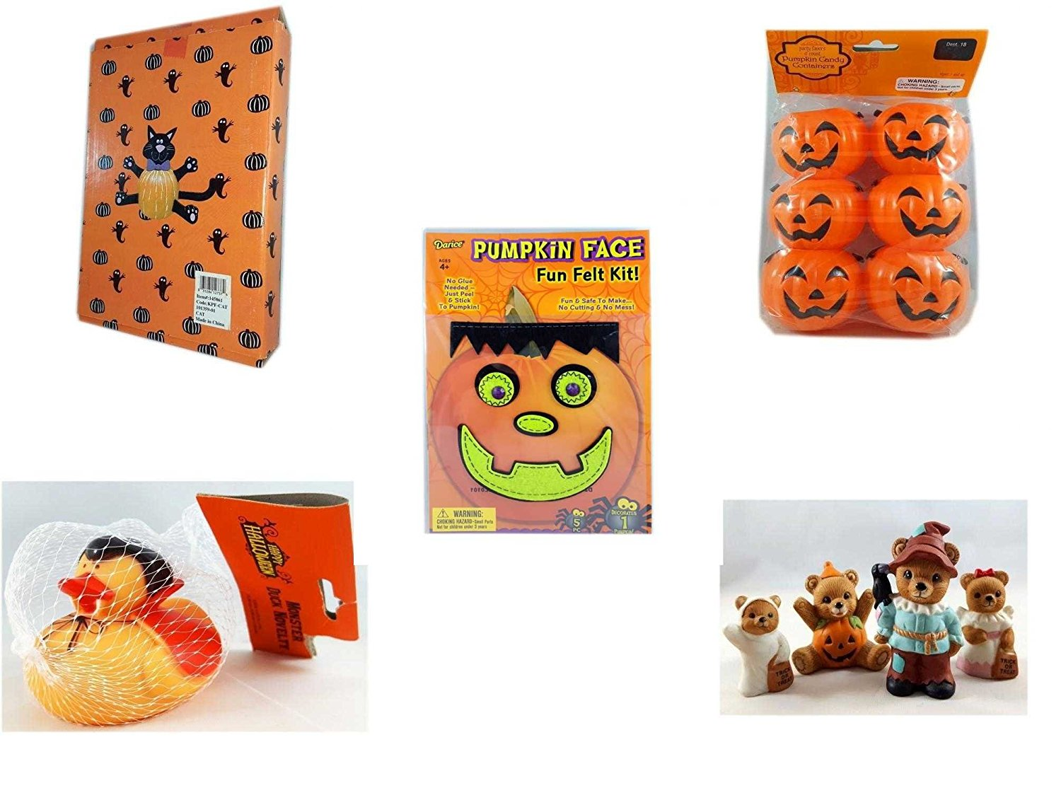 Halloween Fun Gift Bundle [5 piece] - Halloween Cat Pumpkin Push In 5 Piece Head Arms Legs - Party Favors Pumpkin Candy Containers 6 Count - Darice Pumpkin Face Fun Felt Kit - Frankenstein - Happy H