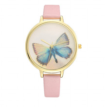 New arrival butterfly-printed face homme montres vogue female leather band watch hot fashion quartz bracelet women watch