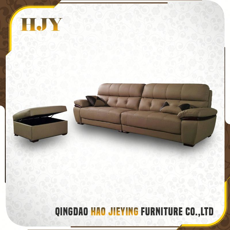 Customized Handmade Living Room Solid Wood Frame Leather Sectional