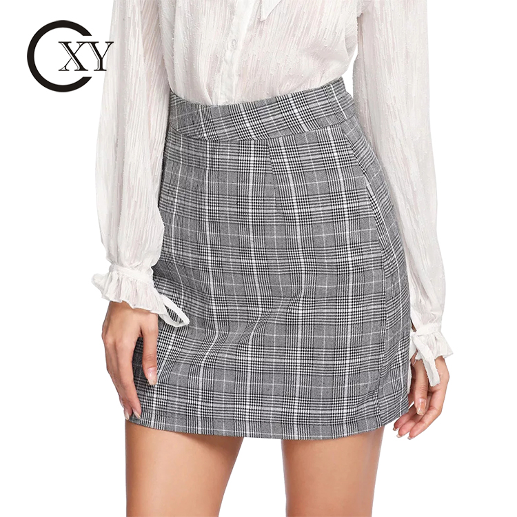 Custom Fashion Office Lady Skirt Gray Checked Zip Up Side Shift Skirt Mini