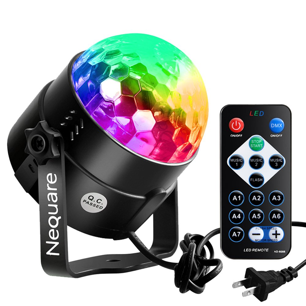 [2018 Latest Models-6 light bulbs] Nequare Party Lights Disco Ball Strobe Light Disco Lights 20 Colors Sound Activated Stage Light with Remote Control for Festival Bar Club Party Wedding Show Home …