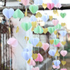 White Mint Pink Glitter Gold 3D Paper Garlands Banner for Baby Shower Decor