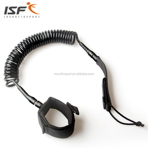 High quality cheap 10ft coil black surf leash leg rope sup leash surfing