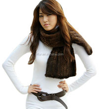 YR184A Brown Color Mink Fur Muffler/China Luxury Women Real Mink Scarf